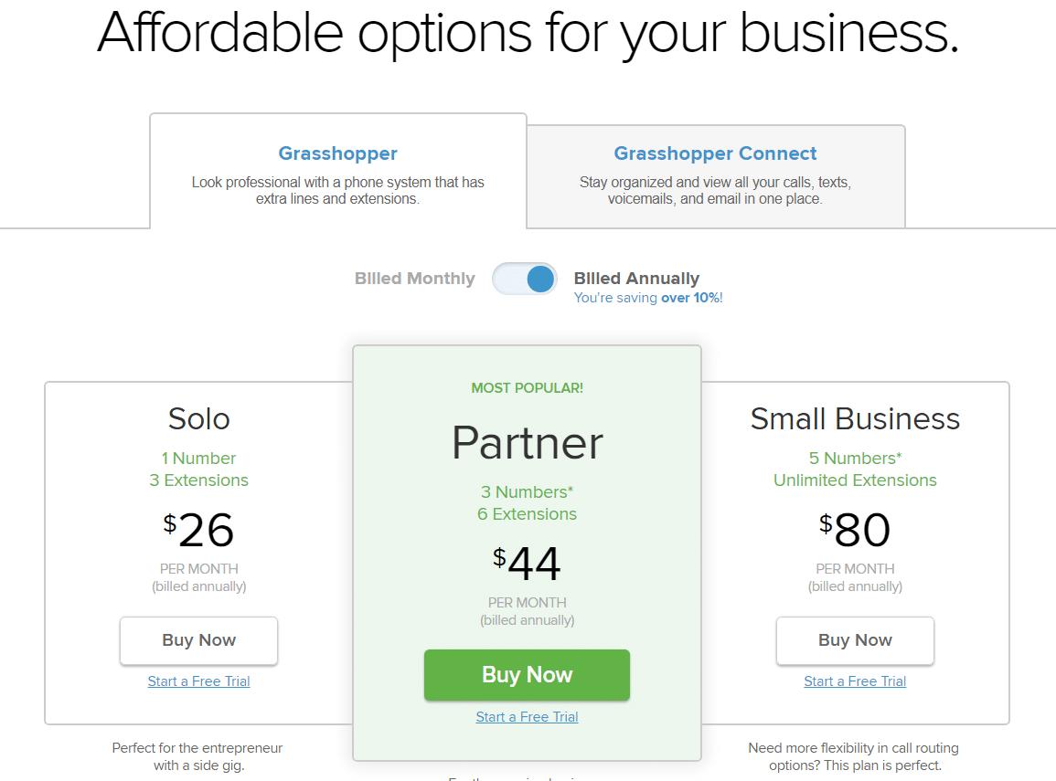 ligne-sans-frais-grasshopper-prix-et-tarification-3-forfaits-disponibles